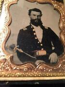 Civil War 1/6 Plate Tintype Of A Union Officer With Sword