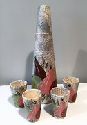 Vintage 1950s Marc Bellaire Still Life California Pottery Cocktail Decanter Set