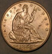 1855/854 Liberty Seated Half Dollar Dramatic Doubled/repunch Date Scarce Wb 102
