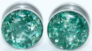 Handmade Green Crushed Glass Plugs - Sizes 16g To 1inch