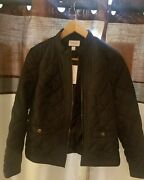 Brand New Ladies Petite Charter Club Deep Black Jacket With Red Trimmed Liner