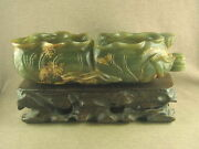 7.5chinese Antique Jade Carving Carved Dual Conjoined Lotus Leaf Brush Washer