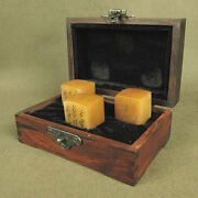 Three Antiques Shoushan Stone Seal In Wood Box With Carved Chinese Calligraphy