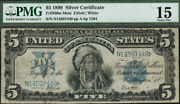 1899 Indian Chief 5 Saddle Blanket Choice Fine Large Note Pmg-15 Fr-280m Mule
