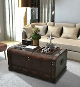 Large Wood Treasure Chest Vintage Coffee Table Storage Trunk Pirate Box Drawers