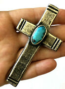 Vintage Navajo Tufa Cast Sterling Natural Turquoise Pendant Brooch Cross 3and039and039
