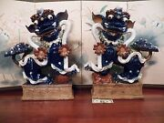 Chinese Foo Dogs Pair Large And Rare Beautiful Ceramic / Pottery