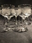 Antique Heisey Crystal Water Goblets Monticello Pattern Set Of 11 Rare