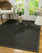 Natural Area Rugs Cher Dark Brown Wool Sisal Rug W/ Extra Wide Border