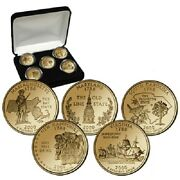 2000 24kt Gold Plated Us Mint State Quarters Set In Gift Box W/coa Gold Layered