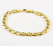 27.30 Gm 14k Gold Yellow Menand039s Womenand039s Mariner Concave Chain Bracelet 8.5 9 Mm