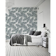 Gray Palm Leaf Removable Wallpaper Black And White Mural Adhesive Peel And Stick