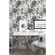 Black And White Garden Removable Wallpaper Decor Self Adhesive Peel And Stick
