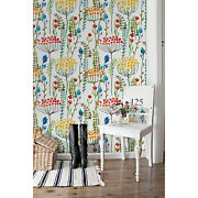 Colorful Meadow Removable Wallpaper White Mural Self Adhesive Peel And Stick