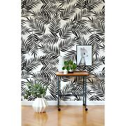 Black Tropical Palm Leaves Removable Wallpaper Monochrome Floral Wall Mural Roll