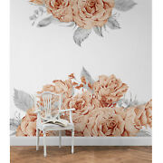 Blooming Rose Wallpaper Removable Wall Mural Peel And Stick Self-adhesive