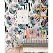 Abstract Jungle Removable Wallpaper White Mural Self Adhesive Peel And Stick