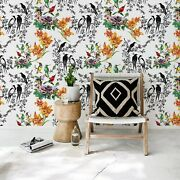 Birds Full Of Color Removable Wallpaper White Mural Self Adhesive Peel And Stick