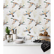 Watercolor Ducks Removable Wallpaper White Wall Mural Self Adhesive Peel And Stick