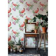 Flamingo Wildlife Removable Wallpaper White Mural Self Adhesive Peel And Stick
