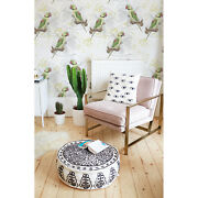 Green Parrots Removable Wallpaper White Mural Self Adhesive Peel And Stick
