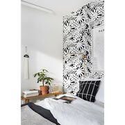 Black And White Leaves Removable Wallpaper Decor Self Adhesive Peel And Stick