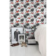 Bullfinches And Tree Removable Wallpaper White Mural Self Adhesive Peel And Stick