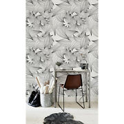 Magician Lines Removable Wallpaper Blackandwhite Leaves Pattern Peel And Stick