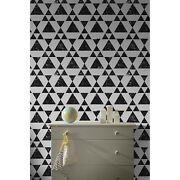 Grunge Triangle Removable Wallpaper Modern Black And White Peel And Stick Art