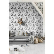 White Rabbits Animals Removable Wallpaper White Mural Self Adhesive Peel And Stick