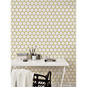 Golden Geometric Removable Wallpaper White Wall Mural Self Adhesive Peel And Stick