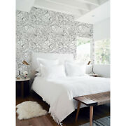 Hand-drawn Doodle Pattern Flowers Black And White Removable Wallpaper Peel And Stick