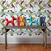 Colorful Birds Removable Wallpaper White Mural Self Adhesive Peel And Stick