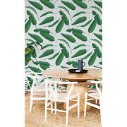 Banana Leaves Removable Wallpaper White Mural Self Adhesive Peel And Stick