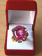Vintage 14k Yellow Gold Oversized Synthetic Pink Sapphire Statement Flower Ring