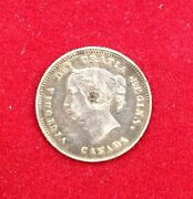 1888 5c Canadian Sterling Coin - Young Victoria