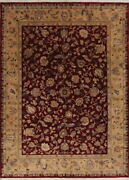All-over Floral Oushak Oriental Hand Knotted 8'x11' Blackberry Wine Red Area Rug