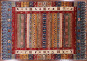 5' 7 X 7' 11 Hand Knotted Tribal Gabbeh Wool Rug - P9279