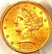 1885-s 5 Ms63 Pcgs, Only 606 In Higher Grades, Liberty Head Half Eagle