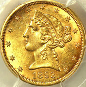 1893-cc 5 Au58 Pcgs Only 133 In Higher Grades Mintage 60 000 Liberty Head Hal