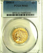1916-s 5 Ms61 Pcgs- Only 780 In Higher Grades-indian Head