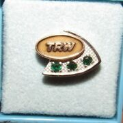 Vintage Trw Aviation 10k White And Yellow Gold Pin W/ 3 Green Stones 10kt