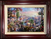 Thomas Kinkade Lady And The Tramp 24x36 S/n W/heart Remarque Disney Canvas