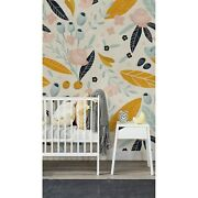 Pastel Colorful Flowers Non-woven Wallpaper Watercolor Abstract Painting Mural