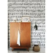 Notes Non-woven Wallpaper Music Wall Musician Black And White Seamless Pattern
