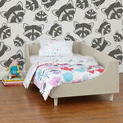 Non-woven Wallpaper Traditional Raccoons Animal For Kids Room Monochrome Mural