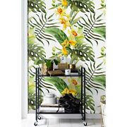 Non-woven Wallpaper Canna Flowers Tropical Floral Home Murals Exotic Leaf Decor