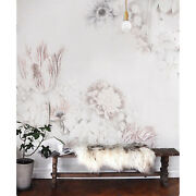 White Vintage Floral Art Non-woven Wallpaper Canvas Texture Roll Home Mural