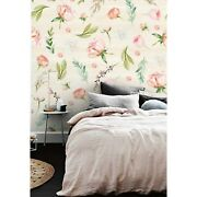 Peachy Floral Vintage Watercolor Flowers Mural Roll Nursery Wall Home Decor