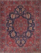 Antique Vegetable Dye Geometric Navy/red Tebriz Oriental Area Rug Wool 9and039x13and039